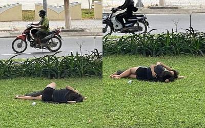 Vô tư nằm ôm ấp tình tứ ở bãi cỏ cạnh đường, cặp đôi bị chỉ trích, 'ném đá' dữ dội