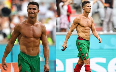 Ronaldo khoe thân hình 6 múi 'rõ mồn một, dân tình bảo 'chắc do uống nước lọc'