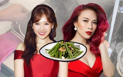 Tò mò cách làm rau muống xào, fan chỉ ngay Hari Won cần thỉnh giáo Mỹ Tâm ngay và luôn!