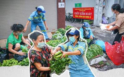 Sạp rau quả miễn phí ấm tình người của hai chị lao công giữa mùa dịch ở Hà Nội