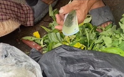 Cụ bà bới rác tìm đồ ăn, người phụ nữ tiến đến bất ngờ có hành động khiến ai cũng cảm phục