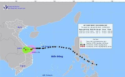 Áp thấp nhiệt đới suy yếu từ bão số 5 dự báo sẽ đi vào đất liền từ Đà Nẵng đến Quảng Ngãi