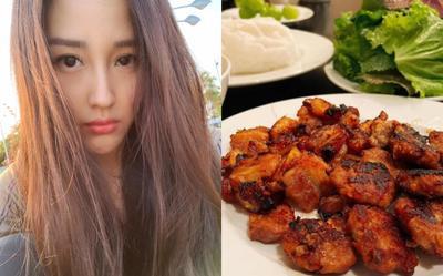 Hoa hậu Mai Phương Thúy 'chật vật' khi làm món bún chả bằng lò nướng