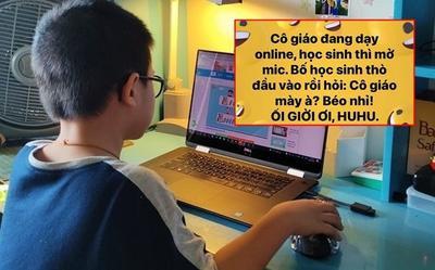 Con học online quên tắt mic, ông bố trẻ đi qua nói một câu mà khiến cô giáo 'đứng hình'