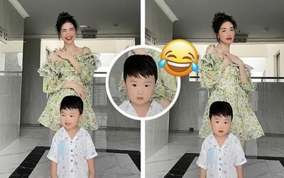 Rủ rê con trai bắt trend 'Hương', Hòa Minzy bị chiếm spotlight với biểu cảm 'khó đỡ' từ bé Bo