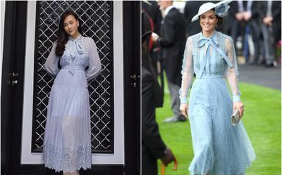 Phương Oanh (Hương Vị Tình Thân) mặc váy baby blue 'na ná' Công nương Kate Middleton