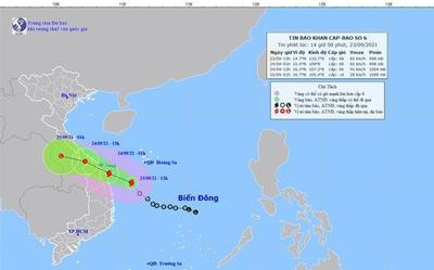 Áp thấp nhiệt đới mạnh lên thành bão số 6, dự báo di chuyển hướng vào Thừa Thiên Huế - Quảng Ngãi