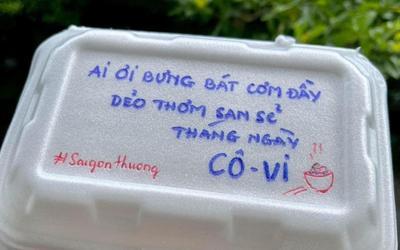 Những hộp cơm kèm chữ viết 'cưng xỉu' gửi F0 và tuyến đầu: 'Ăn cơm tui nấu làm gấu tui tối ngày'