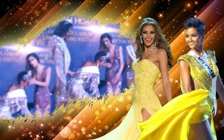 Fan khen H'Hen Niê cúi người chỉnh váy cho Miss Universe Dayana Mendoza suýt rơi vương miện