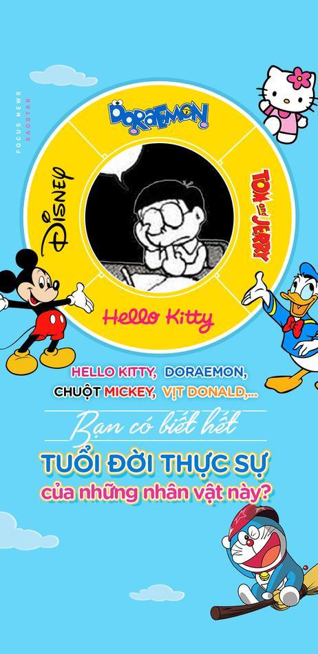 Hello Kitty, Doraemon, Chuột Mickey, Vịt Donald,... Bạn có biết hết tuổi đời thực sự của những nhân vật này?