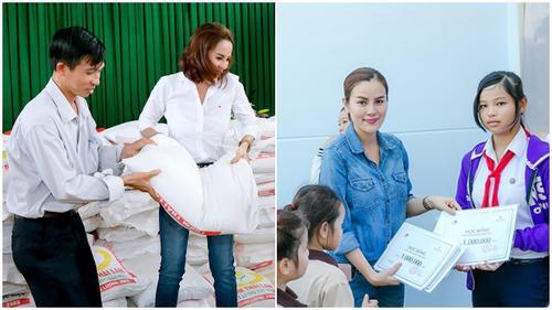Á hậu Phương Lê âm thầm đi trao tặng quà Tết cho người nghèo ở quê hương Trà Vinh