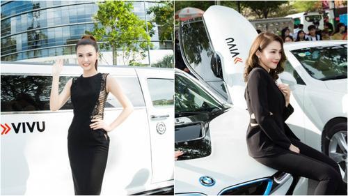Ngọc Duyên, Lê Hà tạo dáng bên dàn siêu xe ViVu làm tắc nghẽn giao thông
