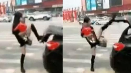 Trào lưu mới của chị em Trung Quốc: Đóng cốp ô tô để khoe chân dài