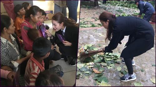 Hoa hậu Phạm Hương thăm hỏi cư dân vùng bão lũ, không ngần ngại quét dọn giúp mọi người