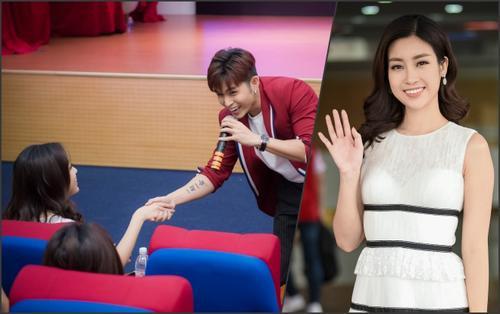 Jun Phạm bất ngờ nắm tay 'thả thính' Hoa hậu Đỗ Mỹ Linh trước hàng trăm sinh viên