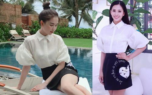 Khi hoa hậu Trần Tiểu Vy đụng váy với Ngọc Trinh, thật khó phân biệt ai đẹp hơn