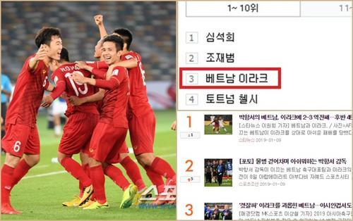Dù thua 2-3 trước Iraq, bóng đá Việt Nam vẫn đứng đầu tìm kiếm Thể thao Hàn Quốc