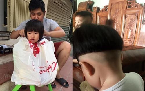 Cô con gái 3 tuổi khóc thét, không dám đi học vì quả đầu bát úp mà bố cắt cho 'không thể men lỳ hơn'