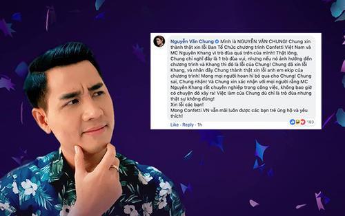 Thực hư chuyện MC Nguyên Khang tiết lộ đáp án Confetti Vietnam trước giờ lên sóng
