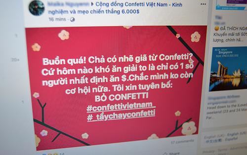 Người chơi rủ nhau tẩy chay Confetti Vietnam vì nghi ngờ gian lận: Một vài người chơi hôm nào cũng thắng!