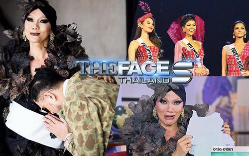 Thiết kế váy Miss Universe xấu tệ, HLV The Face Thái được đối thủ tặng bỉm thấm nước mắt