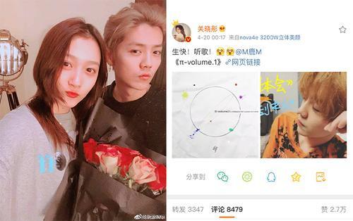 Đăng ảnh dìm để chúc mừng sinh nhật Lộc Hàm, Quan Hiểu Đồng không quên PR cho album mới của bạn trai