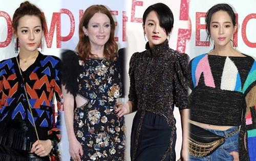 Thảm đỏ Chanel: Địch Lệ Nhiệt Ba mờ nhạt giữa 'tường thành nhan sắc' Julianne Moore, Châu Tấn và Trương Quân Ninh