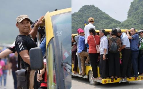 Cảnh phật tử đứng ngồi chật kín xe điện vào chùa Tam Chúc trong ngày Đại lễ Phật đản Vesak 2019