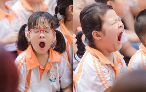 Hội thi 'ngáp to, ngáp khoẻ' ngày bế giảng năm học của những học sinh tiểu học khiến nhiều người bật cười