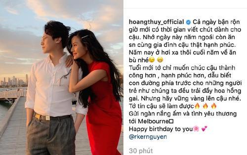 Đăng ảnh tựa vai nhau ngắm hoàng hôn, Hoàng Thuỳ muốn gửi ngàn yêu thương đến Rocker Nguyễn nhân ngày sinh nhật