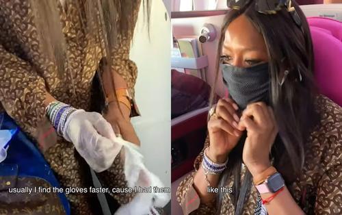 Lên máy bay khoang hạng nhất, Naomi Campbell vẫn cẩn thận lau sạch toàn bộ chỗ ngồi để giữ gìn vệ sinh