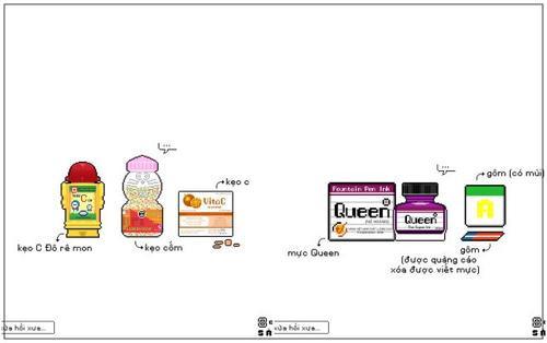 Bộ tranh 'Hồi xửa hồi xưa' với nào là kẹo C, mực Queen, bong bóng xà phòng… khiến 8X, 9X bồi hồi xúc động