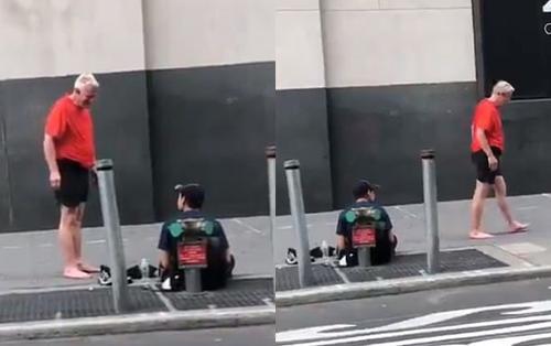 Khoảnh khắc ấm áp: Đang chạy bộ trên đường, ông lão tháo cả giày và tất tặng người vô gia cư