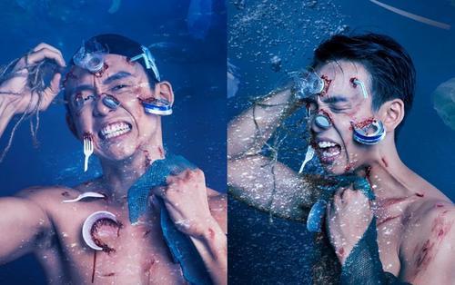 MC Quang Bảo tung bộ ảnh Halloween sớm, lấy ý tưởng 'độc-lạ' từ rác thải biển
