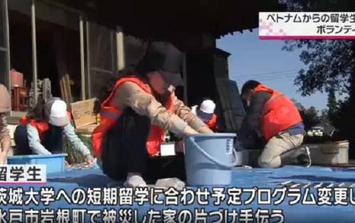 Nhóm du học sinh Việt được kênh truyền hình Nhật Bản đưa tin vì hành động cứu trợ sau cơn bão số 19