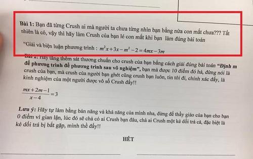 Đánh đúng tâm lý học trò, thầy giáo dạy Toán ra đề 'hãy làm cho crush của bạn lé con mắt' khiến CĐM được phen cười ngất