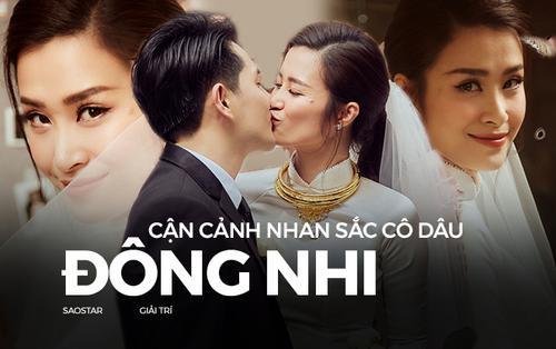 Cận cảnh nhan sắc cô dâu Đông Nhi đẹp lụi tim với chiếc áo dài trắng trong ngày lên xe hoa về nhà chồng