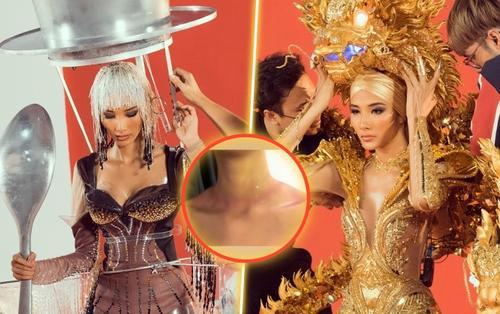 Hoàng Thùy trầy xước, bầm tím người vì gồng mình thử 3 bộ National Costume: Bản lĩnh và chuyên nghiệp!