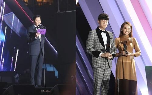 AAA 2019: Sao 'Về nhà đi con' Bảo Thanh - Quốc Trường bật khóc, nhận giải từ nam tài tử Jang Dong Gun
