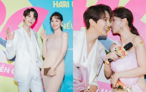 Tạm để ông xã Trấn Thành ở nhà, Hari Won sánh đôi bên Park Jung Min (SS501) trong ngày ra mắt phim 'Oppa, phiền quá nha!'