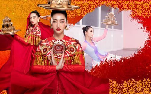 Lương Thùy Linh đẹp cuốn hút như 'đại mỹ nhân' mang điệu múa mâm vàng Việt Nam thi Miss World
