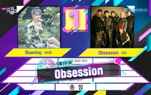 Tuột mất chiến thắng về tay IU tuần trước, EXO lấy lại phong độ với cúp No.1 thứ 4 của 'Obsession' trên Music Bank