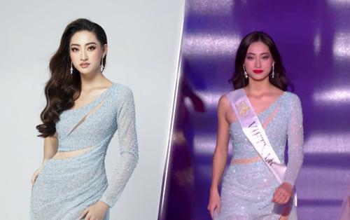 CLIP: Lương Thùy Linh 'chốt hạ' váy xanh đẹp dịu dàng đọ tài catwalk cùng hoa hậu Venezuela