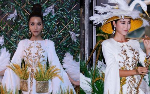 Bộ trang phục dân tộc được Mỹ Duyên mang đến Miss Global 2019 hóa ra đã từng được siêu mẫu Khả Trang diện qua trước đó