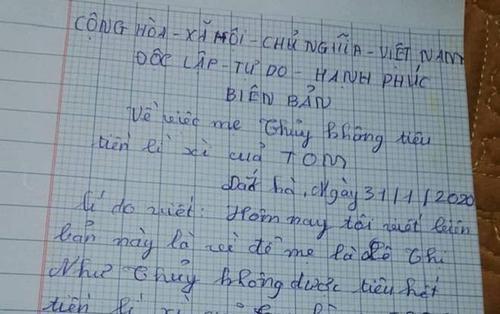 Sợ mẹ sử dụng tiền lì xì, cậu bé 10 tuổi lập biên bản cam kết với đầy đủ người chứng kiến, chữ ký khiến CĐM cười ngất