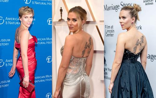 17 lần Scarlett Johansson mặc váy xẻ trước hở sau khoe hình xăm gợi cảm