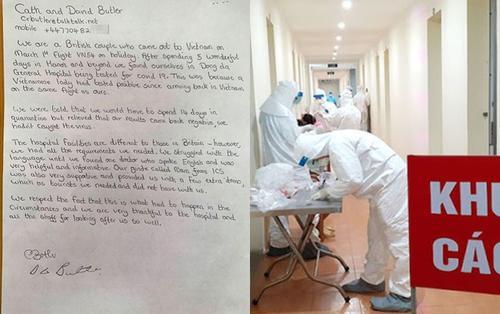 Vợ chồng du khách Anh viết thư bày tỏ sự biết ơn các y bác sĩ sau 14 ngày cách ly ở Việt Nam
