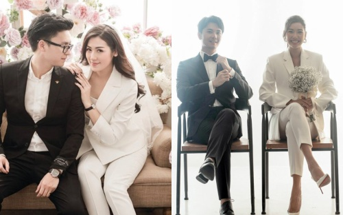 Á hậu Thúy Vân & Tú Anh xuất sắc diện suit 'nam tính' khi chụp ảnh cưới
