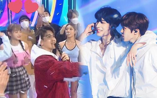 Han Seung Woo - Kim Woo Seok (X1) tái hợp, Chen (EXO) lộ diện trên sân khấu chúc mừng Baekhyun khiến Knet nóng máu