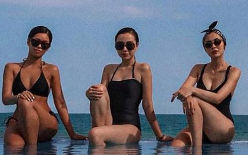 Hà Tăng - Tiên Nguyễn đọ dáng với bikini, cặp chị dâu em chồng hot nhất Vbiz là đây!